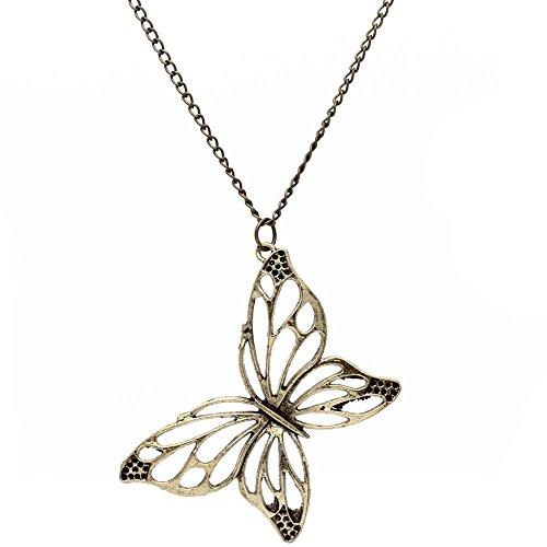 TOOGOO (R) Collar Gargantilla Cadena con Colgante de la mariposa 670x69mm vendimia