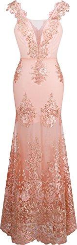 Angel-fashions Damen V-Ausschnitt Stickerei Spitze Blume Riemen Meerjungfrau-Kleid