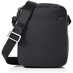 Calvin Klein - Sliver Mini Reporter, Bolsas para portátil Hombre, Negro (Black/Steel Blue), 1x1x1 cm (W x H L)