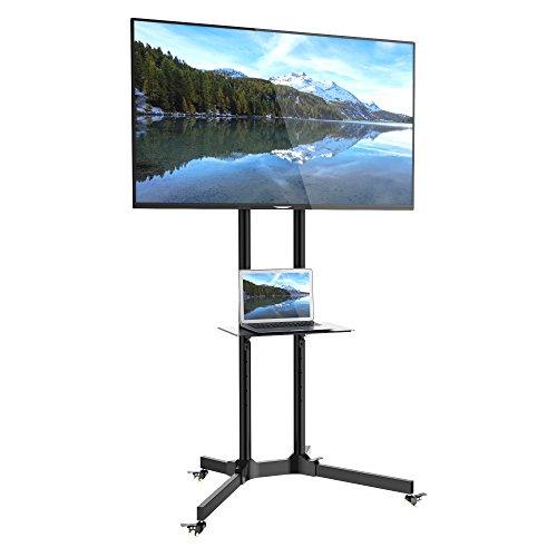1home TV Carrello Staffa Porta Mobile Supporto Stand Spostabile a Pavimento con Rotelle Piedistallo...