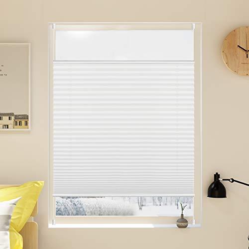 Grandekor Plissee 90x130cm (BxH) Weiß Klemmfix Jalousie ohne Bohren Verspannt Easyfix Klemmrollo Faltrollo Blickdicht Sichtschutz für Fenster und Tür