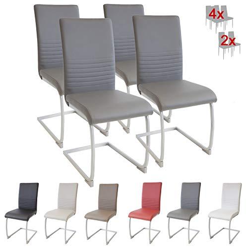 Albatros MURANO - Set di 4 sedie cantilever con imbottitura, con certificazione SGS, colore: Grigio