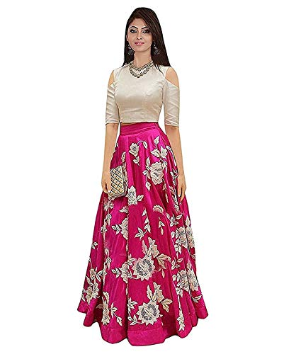 D FASHION GALLERY Women's Tapetta Silk Lengha Choli (Pink, Free Size)