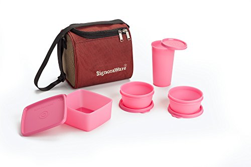 Signoraware Best Lunch Box with Bag, Pink