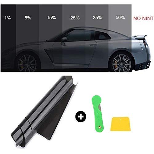 Gaosheng - Lámina autoadhesiva para Espejo de Coche, protección Solar, película de privacidad, película de Tinte Opaca, Color Negro, protección UV, Resistente a los arañazos, 50 cm x 3 m