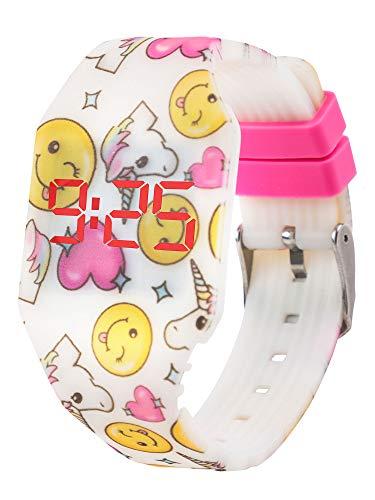 Orologio a LED digitale per ragazze, bambine e giovani, da polso, cinturino morbido in silicone,...