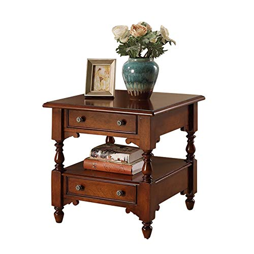 OUY Tavolino Moderno Retro Tavolino Solid Wood Hall Divano Tavolino Piccola Piazza Tavolino Decorazione del Salone (Color : Brown, Size : 60x60x60cm)
