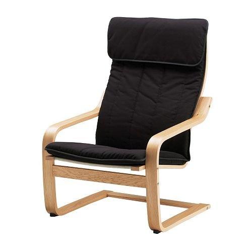 Ikea Poang-Poltrona, impiallacciato di quercia, Alme nero