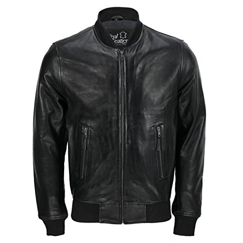 Giacca da uomo, in stile vintage, nera, in vera pelle, morbida, da motociclista Without Collar Bomber XXXX-Large