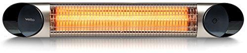 veito Blade S Design Infrarot Heizstrahler, 2500 Watt, Fernbedienung, 4 Heizstufen Dimmer, Wintergarten, Terrassenstrahler, Infrarotstrahler Elektrisch