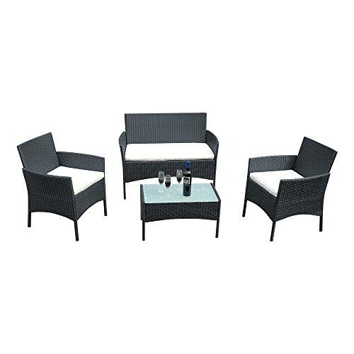 Sanmey set mobili da giardino in rattan, indoor outdoor Set di 4tavoli e sedie, divano