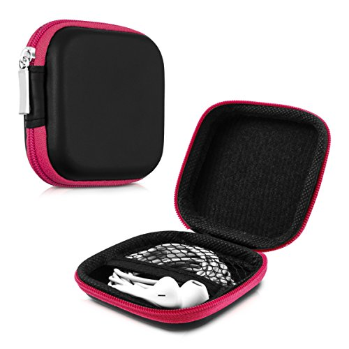 kwmobile Tasche für in-Ear Kopfhörer - Case Hardcase Schutztasche Earphone Cover Schutzhülle - Headphone Etui in Pink