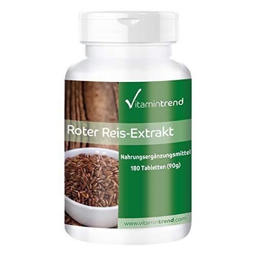 Roter Reis Extrakt Tabletten - Vegan - 4,5mg Monacolin K pro Tablette - 180 Tabletten - Hergestellt in Deutschland - ! FÜR 6 MONATE !