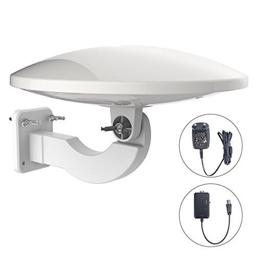 1Byone Antenna Amplificata Omni-Direzionale 360°, Antenna HDTV da Esterno per Digitale DVB-T e...