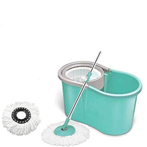 Mop'n'me 360 Spin Mop Bucket with Plastic Basket with 2 Refill Bucket with Wheel to Easy Moving (Color May Vary)