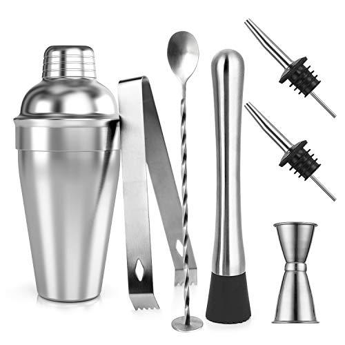 Samione Cocktail Shaker Set, 7 Pezzi Kit da Barman in Acciaio Inox Professionale 550ml Shaker con...