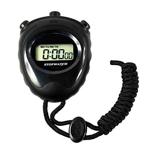 gdangel Cronometro 5 Pezzi Cronometro Sport Timer Timer Digitale Mini LCD Cronografo Contatore Allarme Nuovo Sport Cronometro Nero da Uomo