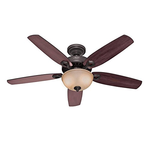 1 Light Source, Cherry/Stained Oak : Hunter 53091 Builder Deluxe 5-Blade Single Light Ceiling Fan with Brazilian Cherry/Stained Oak Blades and Piped Toffee Glass Light Bowl, 52-inch, New Bronze