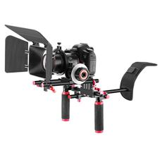 Neewer Kit de Sistema Jaula Rig para Canon Nikon Cámaras Sony y Otras Cámaras DSLR Videocámaras, Incluye: Montaje de hombro, Varilla de 15mm, Enfoque de Seguimiento, Caja Mate (Rojo)