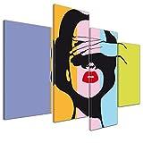Kunstdruck - Retro Frau Pop Art Stil - Bild auf Leinwand - 120x80 cm 4 teilig - Leinwandbilder - Bilder als Leinwanddruck - Wandbild von Bilderdepot24 - Urban & Graphic - Andy Warhol - Kunst - farbig - bunt