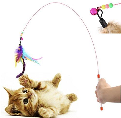 Diawell Canna da pesca per gatti con campana, gioco per gatti