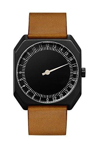 slow Jo 19 - Braun Vintage Leder schwarz Fall Schwarz Zifferblatt Unisex Quarzuhr mit schwarzem Zifferblatt Analog-Anzeige und braunem Lederband