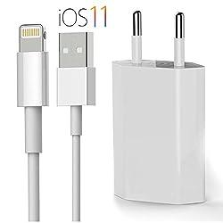 Kaufen OKCS Originals iPhone Ladeset [USB Ladekabel mit Netzteil] 1 Meter für iPhone X, 8, 8 Plus, 7, 7 Plus, 6, 6s 6 Plus, 5, 5s, iPad 4, Pro,Mini, 2- Weiß