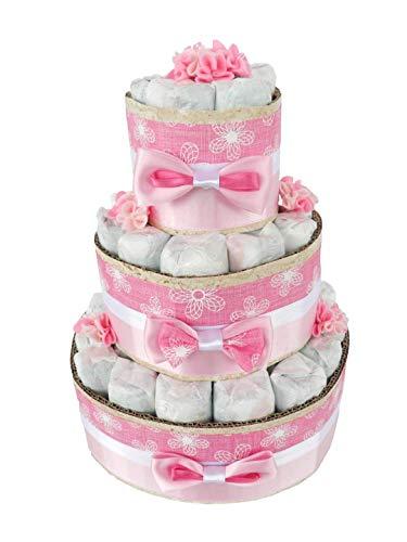 Torta pannolini BAMBINA con pannolini tg. 3 (4-9kg) o tg. 4 (7-18kg)