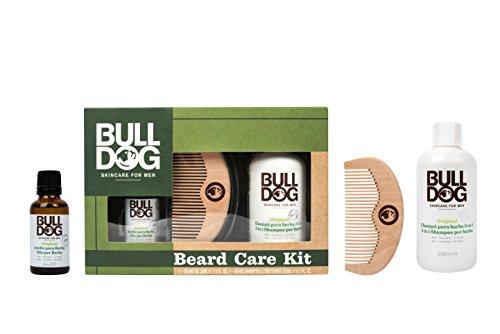 Bulldog Skin Care Beard Set - Kit di Shampoo e Balsamo 2 in 1, Olio Idratante per Barba e Pettine da Barba - Pacco da 3