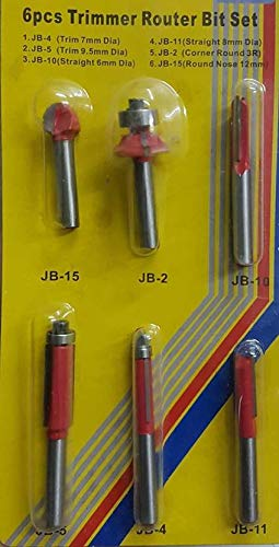 Jon Bhandari Trimmer Router Bit Set, 6 Pieces