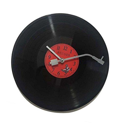 Orologio da Parete CD Vinile Disco Ornamenti Casa Adatto per Regalo Musicale Amanti Rotondo - Rosso