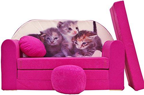 PRO COSMO H6Bambini Divano Letto futon con Pouf/poggiapiedi/Cuscino, Tessuto, Rosa, 168x 98x...