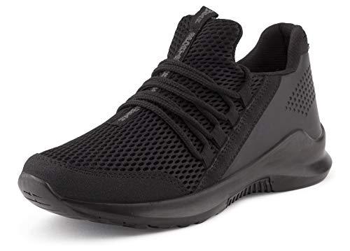 722081400a441 Fusskleidung Herren Sportschuhe Strick Laufschuhe Freizeitschuhe Sneaker  Turnschuhe Gym Runners Schwarz EU 41