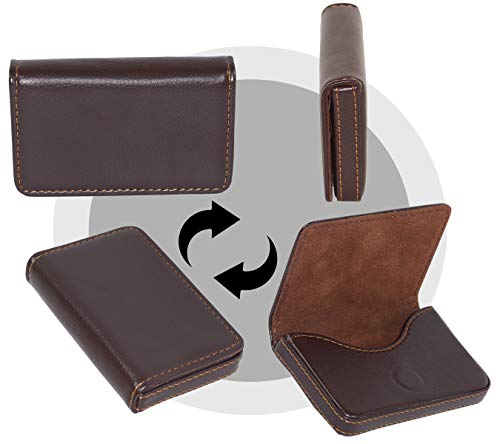 Storite Pocket Sized Stitched Leather Credit Debit Visiting Card Holder (Coffee Brown) 4