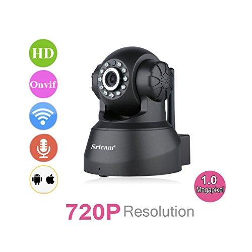 Sricam SP012 - Telecamera Wireless IP Sorveglianza 720P HD 1.0 Megapixel H.264 PT ONVIF, Infrarossi, Visione Notturna, Supporto MicroSD, Allarme Email, Tecnologia P2P, Pan/Tilt Nero