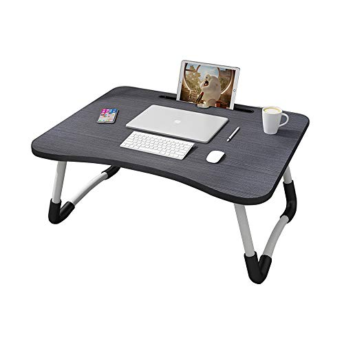 MemeHo® Smart Multi-Purpose Laptop Table with Dock Stand/Study Table/Bed Table/Foldable and Portable/Ergonomic & Rounded Edges/Non-Slip Legs (Black)