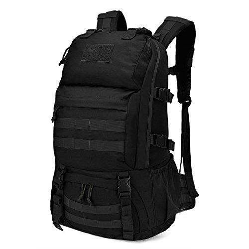 Mardingtop 40L Mochila Militar /Táctica Molle / Acampada /Camping /Senderismo/ Deporte/ Backpack de Asalto Patrulla (Negro-V)