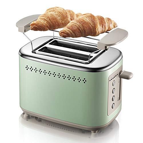 JOLLY Toaster Tostapane 2 Fette in acciaio inox con 2 scanalature extra larghe 6 Quadranti dorati e...