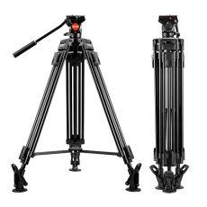 Trípode para Vídeo - ESDDI VT-60 64 inch/163 cm Trípode profesional de aluminio para trabajo pesado con Cabezal fluido para videocámara DSLR, carga máxima de 5 kg, peso 2.95 kg
