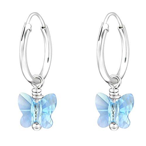 SL de Silver Pendientes Pendientes de aro pequeño Mariposa Cristal Aqua Marine Plata 925en caja de regalo