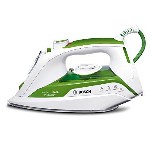 Bosch TDA502412E Ferro da Stiro, 2400 W, 180, 0 Decibel, Acciaio Inossidabile, Bianco, Verde