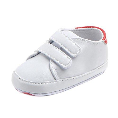 UOMOGO Scarpine neonato Sneaker in Pelle Pattini di bambino ragazza Bowknot Leater antiscivolo Per 0~18 Mesi (Età: 0~6 mesi, Rosso)