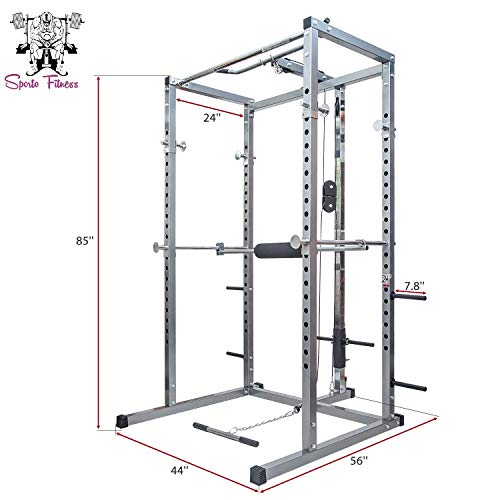 SPORTO FITNESS Power Rack Olympic Squat Cage Home Gym with LAT Pull Attachment