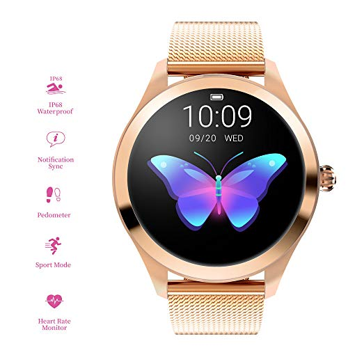RanGuo, Smart Watch da donna, Bluetooth Smart Watch IP68, impermeabile, braccialetto intelligente...
