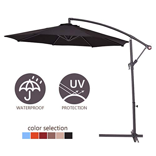 This versatile parasol can be placed in different settings whether near the pool or a bar street. We love that it offers adequate coverage and also possesses height adjustability features. UV ray protected and showerproof, this cantilever parasol will offer years of service. Be sure to add the cost of the base to the parasol and make monetary considerations before purchasing.
