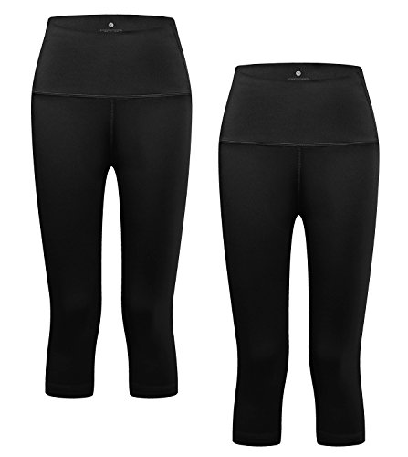 LAPASA Mallas Deportivas 3/4 Capris de Mujer (Leggings para Yoga, Pilates, Running) L02 (XL/44 (Ci. 85-89, Ca. 112-116, La. 67), Space Black)