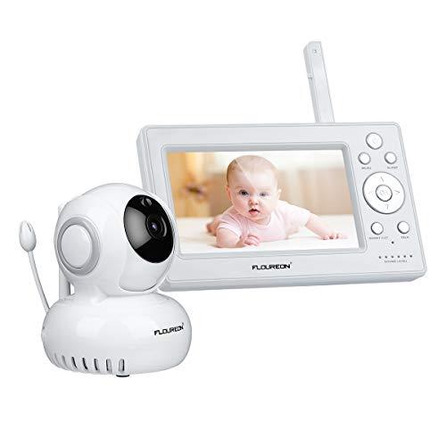 """FLOUREON Vigilabebé Inalámbrico Video Audio Pan/Tilt 720P HD 5 """"Pantalla LCD Invisible IR 1000 pies de largo alcance, Detección de llantos Visión nocturna, Audio bidireccional, Alerta de temperatura"""