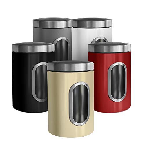 casa pura Trendige Vorratsdose Scatola zur Aufbewahrung von Mehl Zucker Müsli Kaffee Tee   Metalldose mit luftdichtem Deckel   Großes Sichtfenster   In 5 Farben (1 Stück, grau)