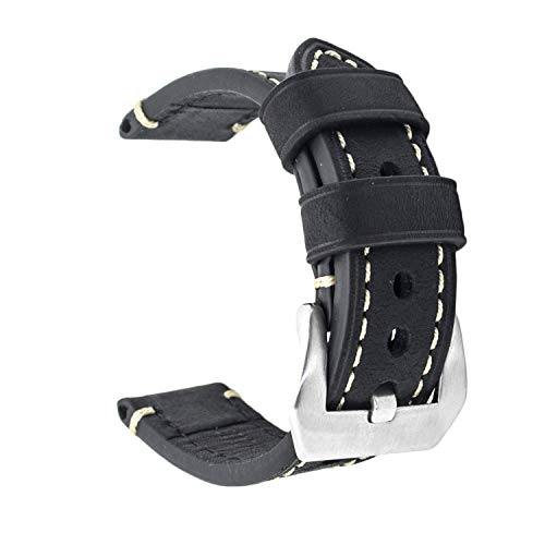 Cinturino di ricambio in vera pelle, per orologio vintage, da uomo o donna, con fibbia in acciaio inossidabile, 20 x 22 x 24 mm, Black