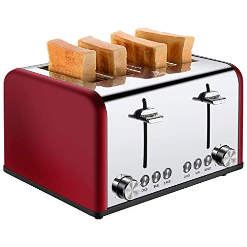 JINRU Toaster 4 Slice, Toaster in Acciaio Inox Extra Wide Slot Tostapane per Pane a Quattro fette,...